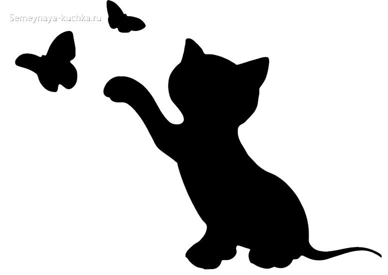 шаблон котенок и бабочки для аппликации