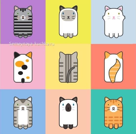 шаблон для аппликации кошка в младшей группе