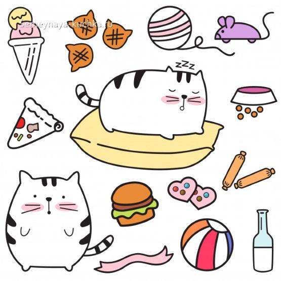 шаблон для аппликации кошка и ее жизнь