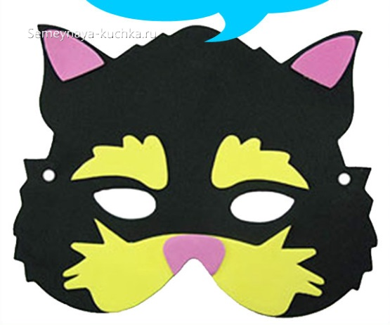 шаблон маска кота для детского сада