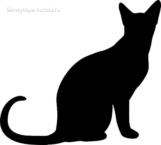 шаблон черный силуэт кошка сидит