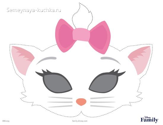 шаблон маска кошка для детей