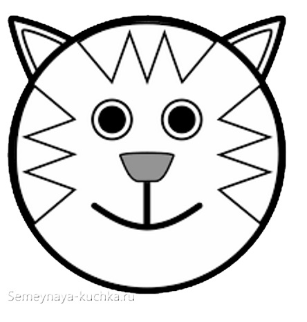 шаблон кот аппликация средняя группа