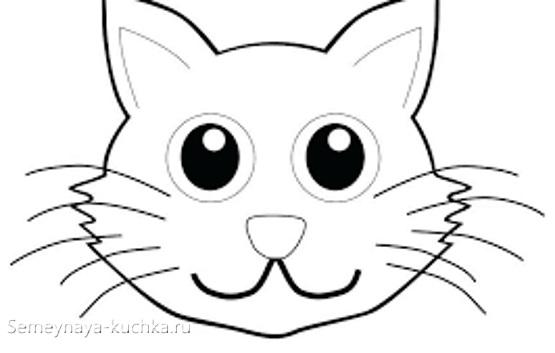 шаблон голова котика для аппликации