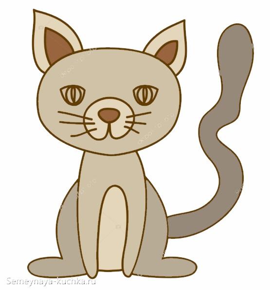 шаблон аппликация кот сидит для детского сада