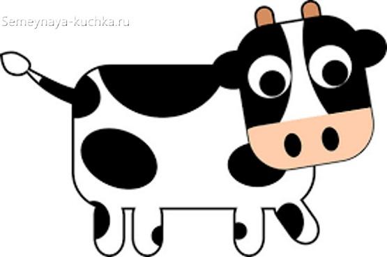 шаблон корова для аппликации