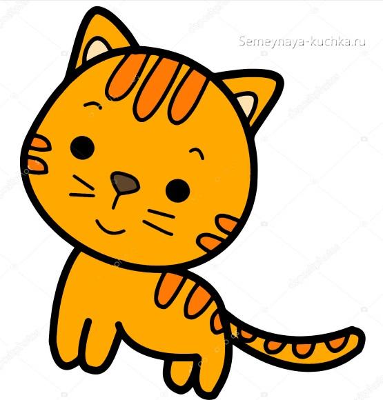 шаблон аппликация рыжий кот для детского сада