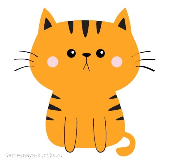 аппликация полосатый котик в детском саду шаблон
