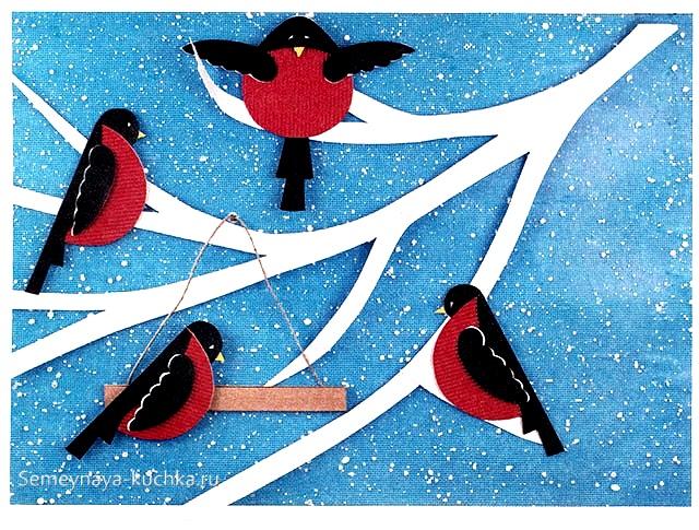 аппликация птицы снегири средняя группа