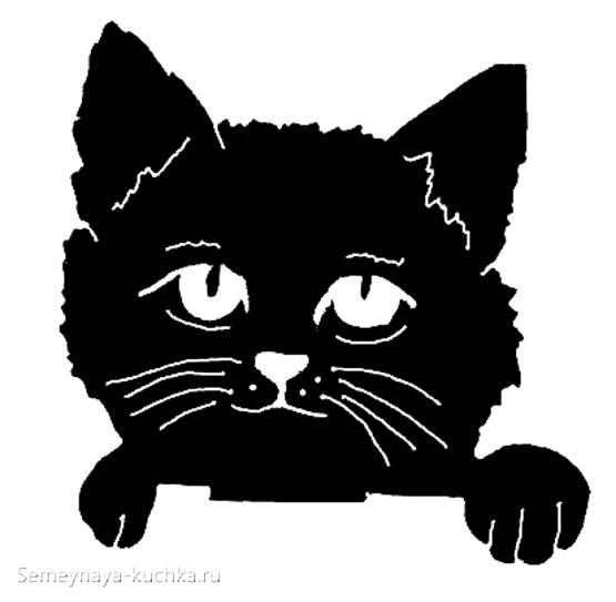 образец шаблон рваная аппликация кот