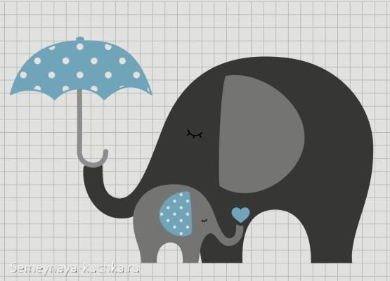 аппликация слон слоненок шаблон