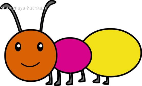 аппликация муравей шаблон младшая группа