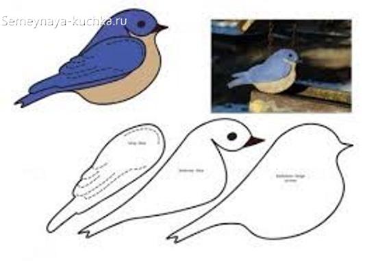 шаблон для слоеной аппликации птичка
