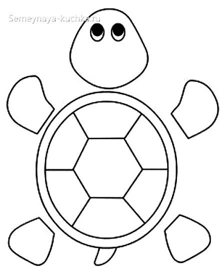 шаблон аппликации черепаха