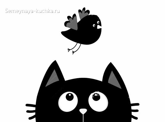 шаблон аппликация котик и птичка