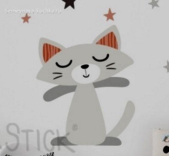 аппликация по шаблону котик