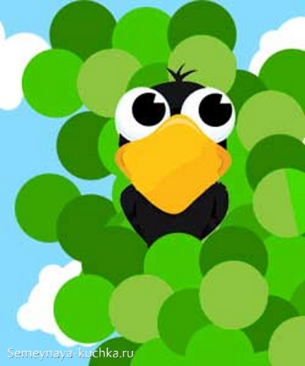 аппликация по шаблону ворона на дереве