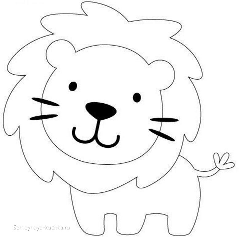 аппликация лев шаблон для детей