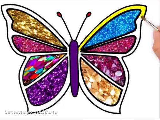 аппликация бабочка шаблон для детей