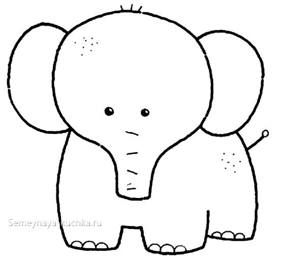 аппликация слоник шаблон для детей