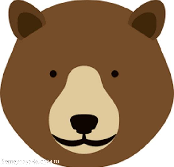 шаблон морда медведя