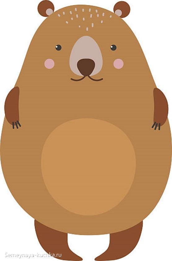 аппликация толстый медведь для детей 5 лет