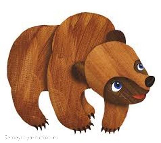 шаблон для слоеной аппликации страшный медведь из природного материала