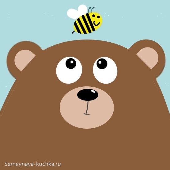 аппликация мишка и пчела для малышей