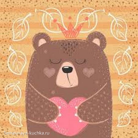 аппликация медведь с сердцем для детского сада