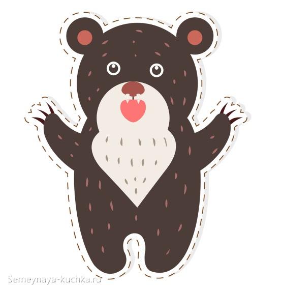 шаблон мишка рычит аппликация в детском саду