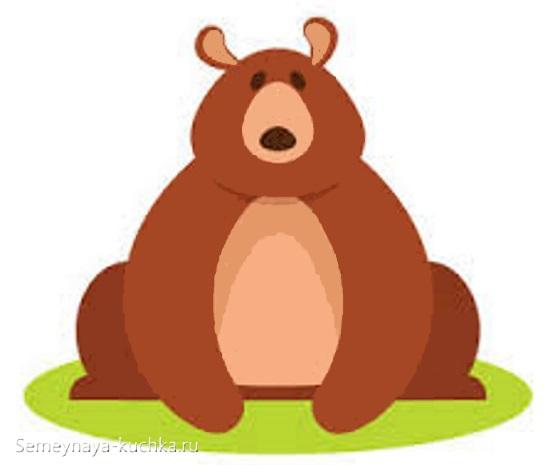 аппликация медведь сидит на полянке шаблон