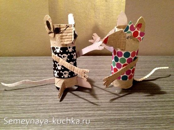 поделка мышка игрушка из втулки и бумаги