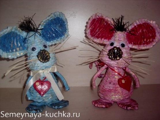 поделка мышка из бумажного жгута плетение