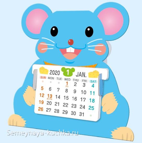 поделка мышка календарь для детского сада