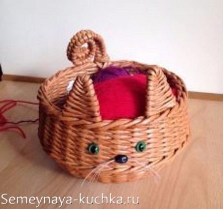 плетеная корзина кошка и мышка