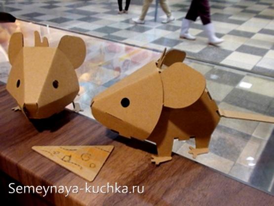 мышка из картона как сделать самим