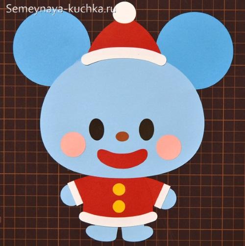 аппликация мышка из бумаги для малышей новогодняя