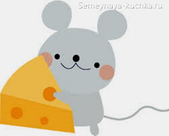 аппликация мышка из бумаги