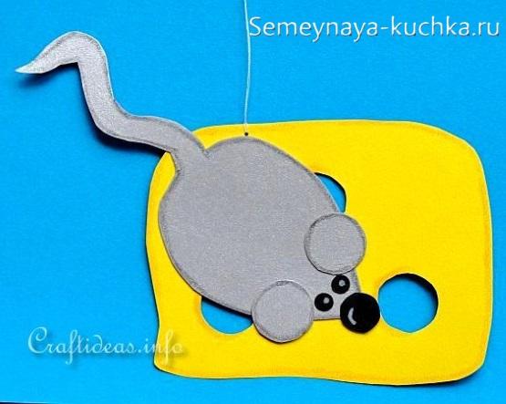 аппликация мышка из бумаги для детского сада