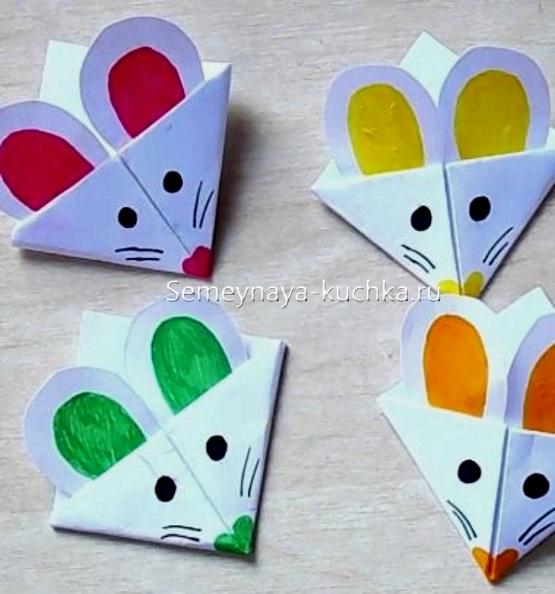 мышь оригами закладка для книг