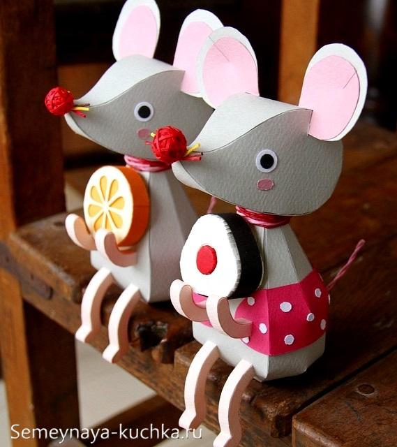 крутая поделка мышь из картона