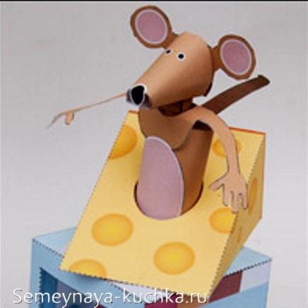мышка в сыре поделка объемная 3d