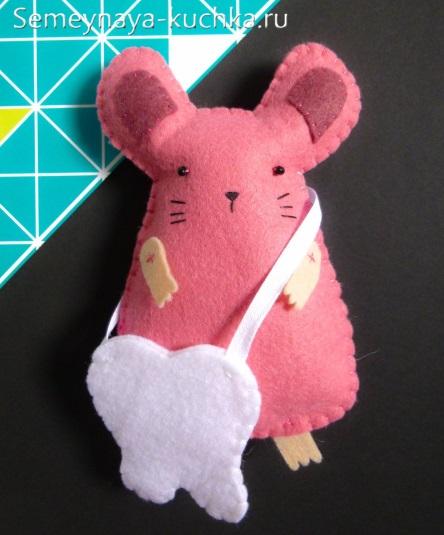 мышка с зубом из фетра сшить