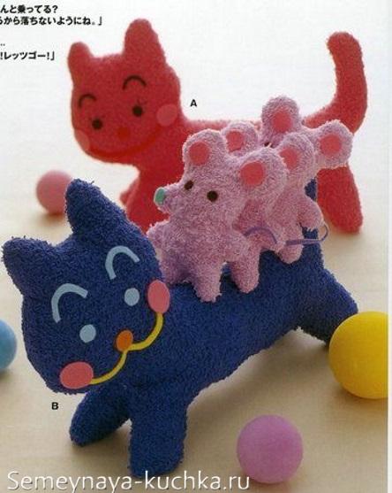 поделка кот и мышки из ткани детская