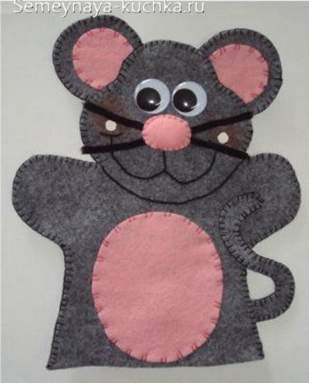 мышка поделка на руку кукольный театр