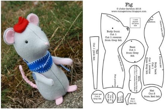 выкройка мышки из ткани сшить