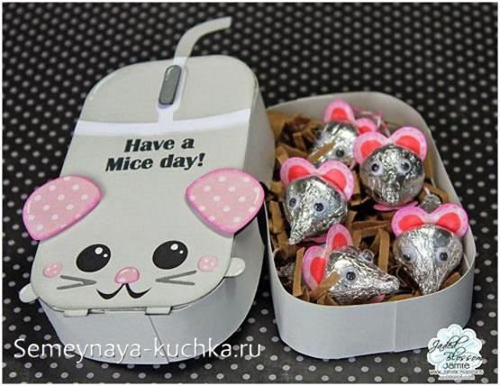 подарок в виде мышки поделка своими руками с конфетами