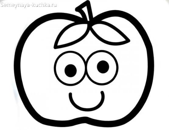 раскраска яблоко на 2 года