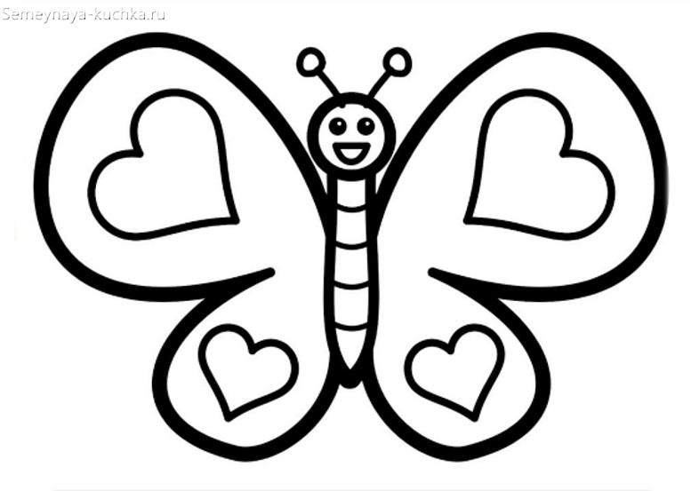 раскраска на 2 года бабочка девочке