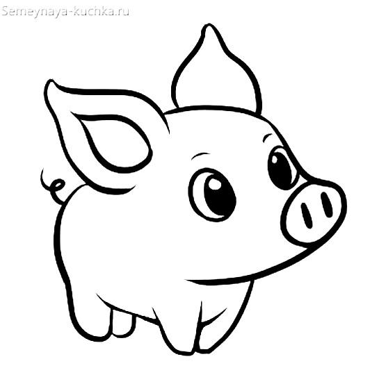 раскраска на 2 года свинка